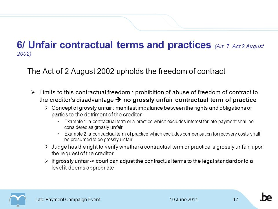 6/ Unfair contractual terms and practices (Art.