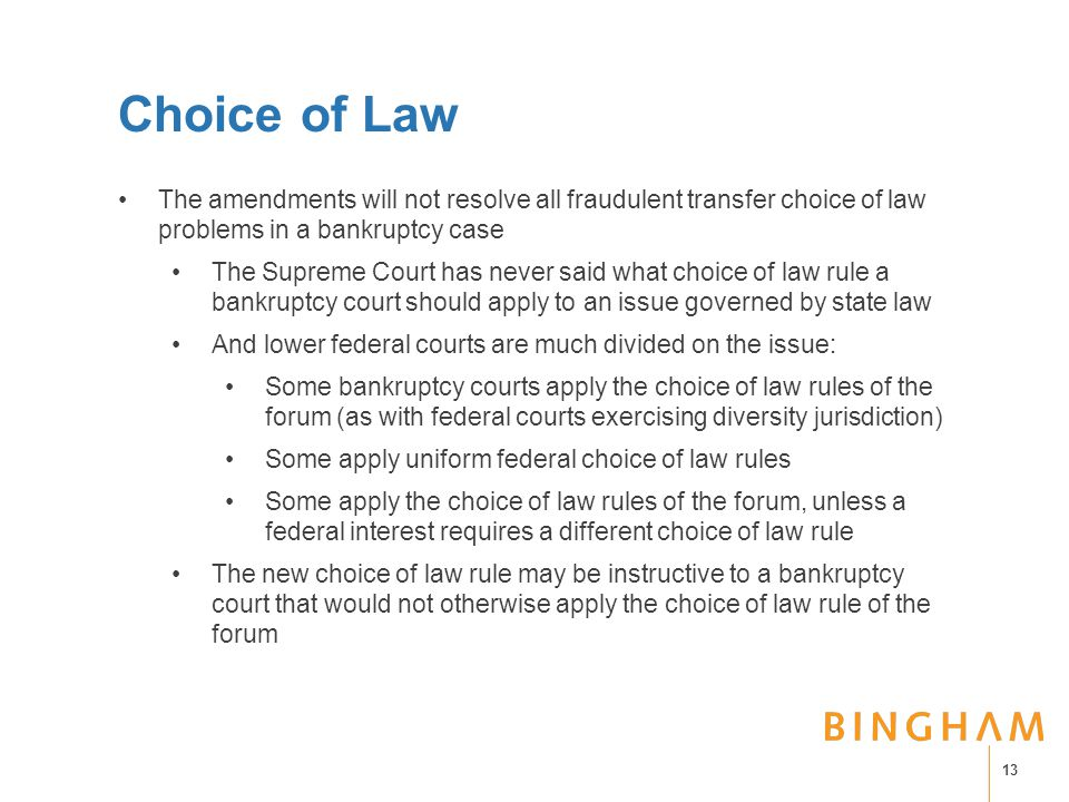Choice of Law The amendments will not resolve all fraudulent transfer choice of law problems in a bankruptcy case The Supreme Court has never said wha