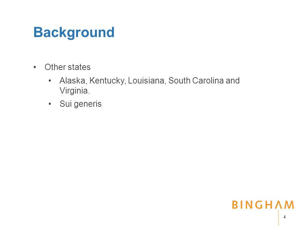 Background Other states Alaska, Kentucky, Louisiana, South Carolina and Virginia. Sui generis 4