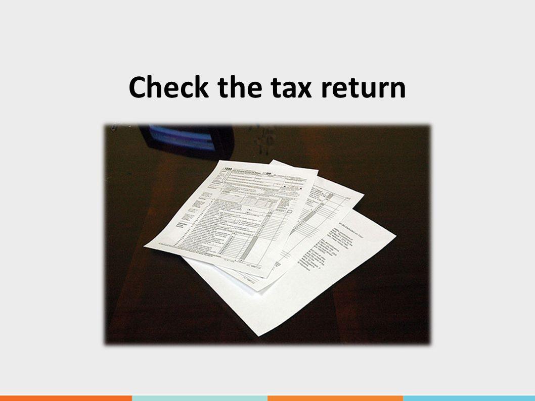 Check the tax return