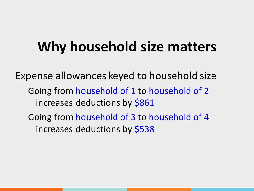 Why household size matters Expense allowances keyed to household size Going from household of 1 to household of 2 increases deductions by $861 Going from household of 3 to household of 4 increases deductions by $538
