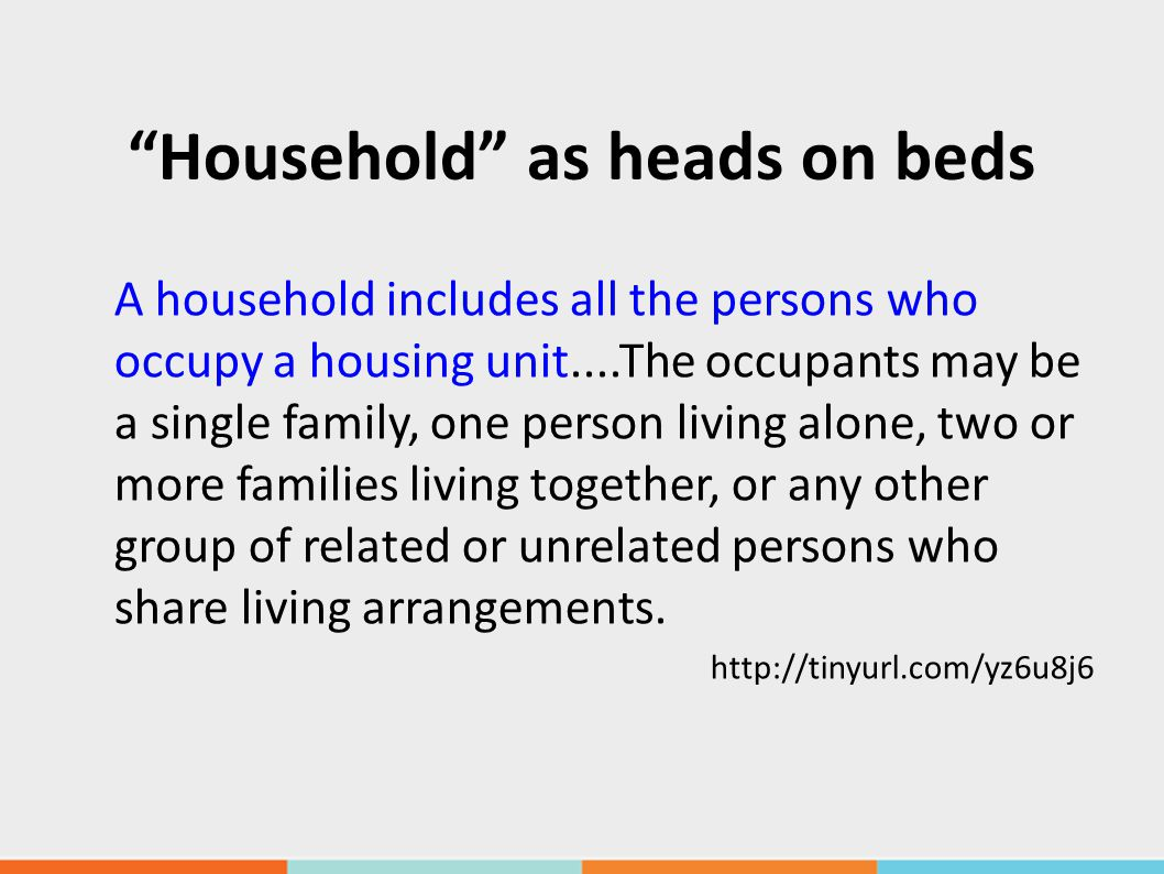 Household as heads on beds A household includes all the persons who occupy a housing unit....The occupants may be a single family, one person living alone, two or more families living together, or any other group of related or unrelated persons who share living arrangements.
