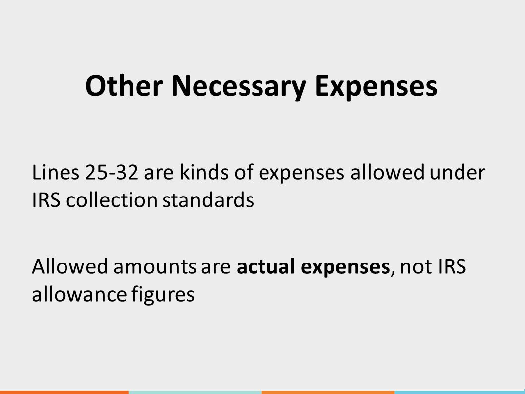Other Necessary Expenses Lines 25-32 are kinds of expenses allowed under IRS collection standards Allowed amounts are actual expenses, not IRS allowance figures