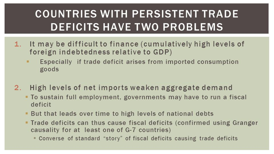 1.It may be difficult to finance (cumulatively high levels of foreign indebtedness relative to GDP)  Especially if trade deficit arises from imported consumption goods 2.High levels of net imports weaken aggregate demand  To sustain full employment, governments may have to run a fiscal deficit  But that leads over time to high levels of national debts  Trade deficits can thus cause fiscal deficits (confirmed using Granger causality for at least one of G-7 countries)  Converse of standard story of fiscal deficits causing trade deficits COUNTRIES WITH PERSISTENT TRADE DEFICITS HAVE TWO PROBLEMS