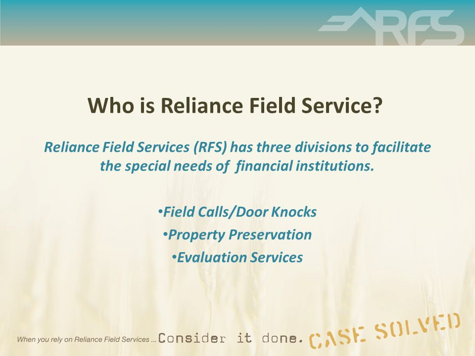 Who is Reliance Field Service.
