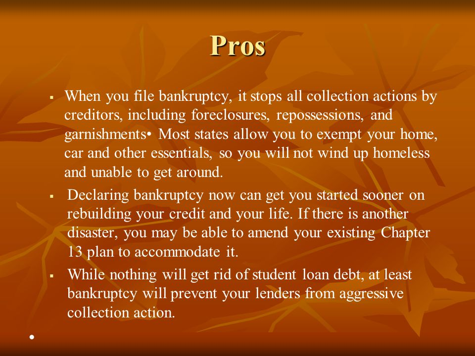 Pros   When you file bankruptcy, it stops all collection actions by creditors, including foreclosures, repossessions, and garnishments Most states a