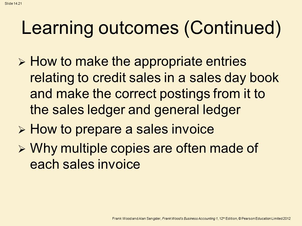 Frank Wood and Alan Sangster, Frank Wood's Business Accounting 1, 12 th Edition, © Pearson Education Limited 2012 Slide 14.21 Learning outcomes (Conti