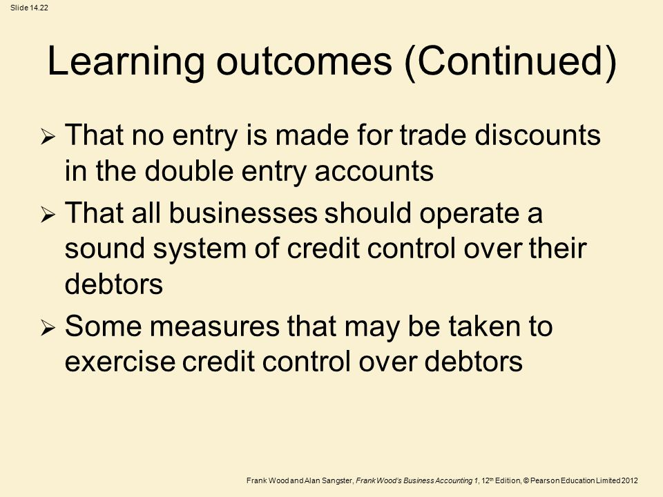 Frank Wood and Alan Sangster, Frank Wood's Business Accounting 1, 12 th Edition, © Pearson Education Limited 2012 Slide 14.22 Learning outcomes (Conti