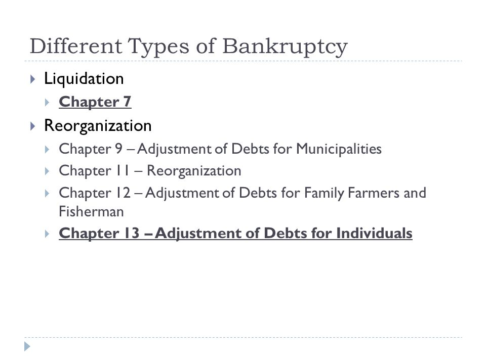 Different Types of Bankruptcy  Liquidation  Chapter 7  Reorganization  Chapter 9 – Adjustment of Debts for Municipalities  Chapter 11 – Reorganization  Chapter 12 – Adjustment of Debts for Family Farmers and Fisherman  Chapter 13 – Adjustment of Debts for Individuals