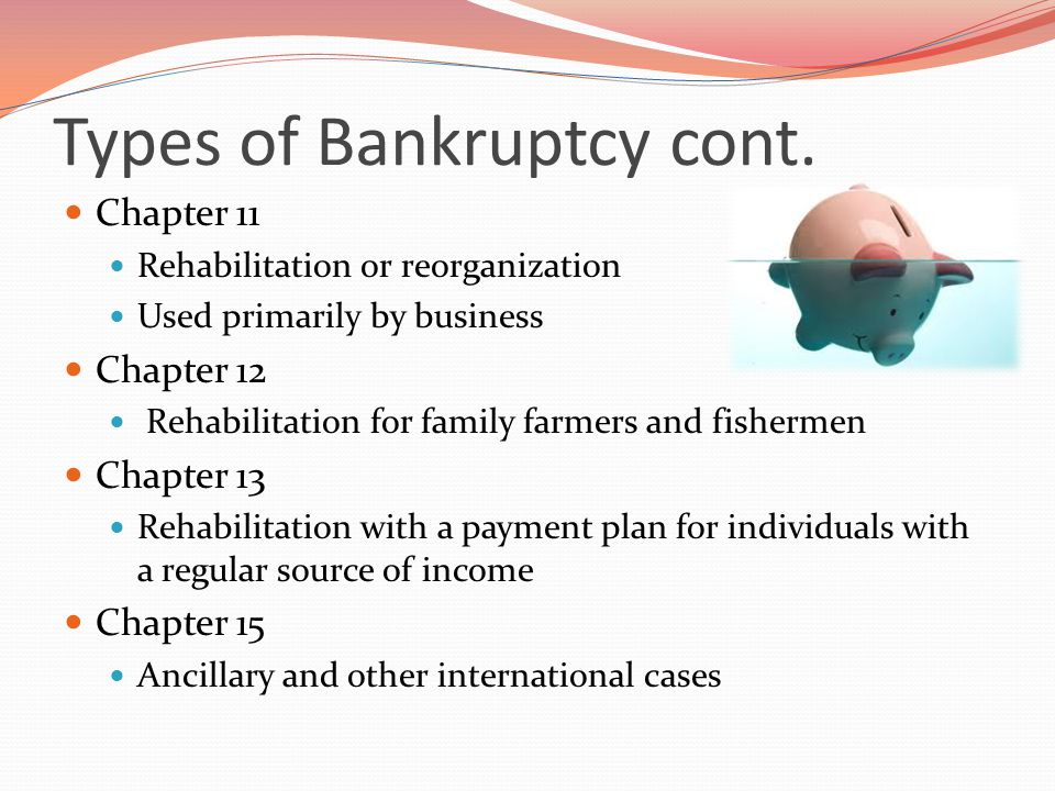 Types of Bankruptcy cont.