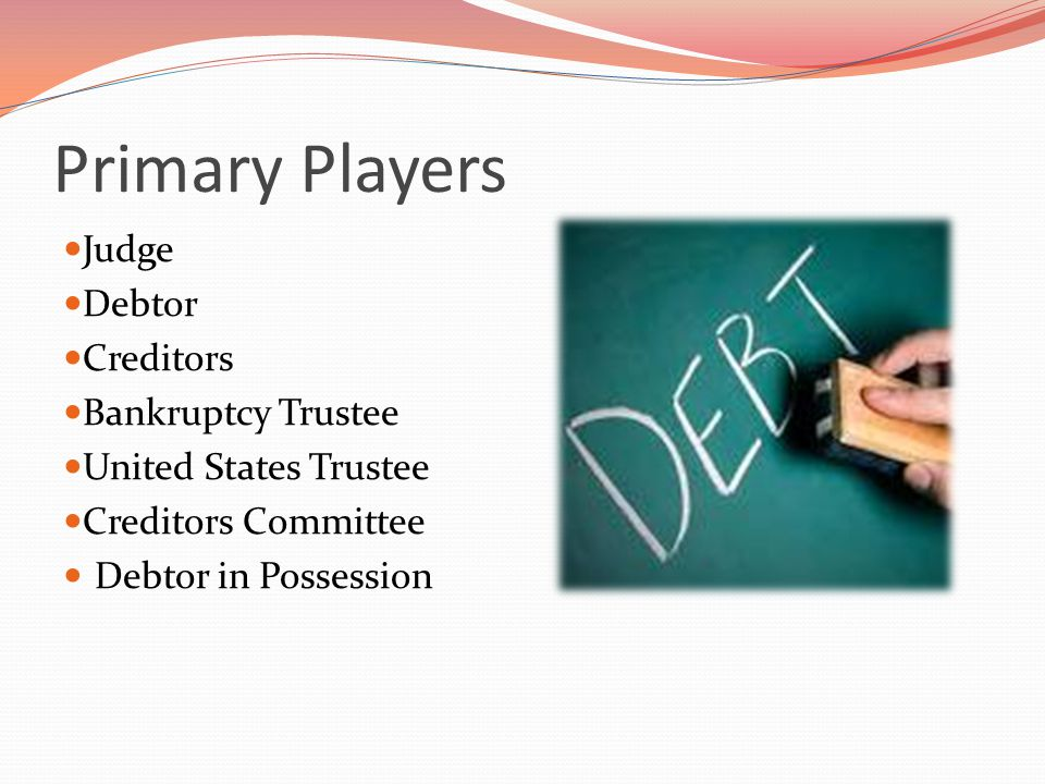 Primary Players Judge Debtor Creditors Bankruptcy Trustee United States Trustee Creditors Committee Debtor in Possession