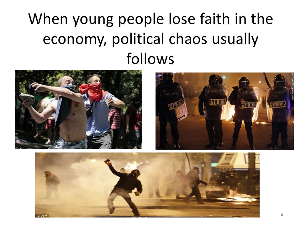 When young people lose faith in the economy, political chaos usually follows 4
