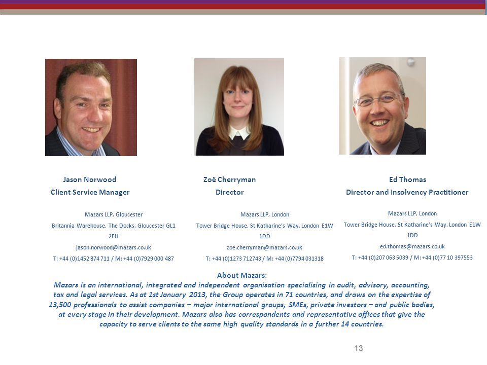 13 Jason Norwood Client Service Manager Mazars LLP, Gloucester Britannia Warehouse, The Docks, Gloucester GL1 2EH jason.norwood@mazars.co.uk T: +44 (0)1452 874 711 / M: +44 (0)7929 000 487 About Mazars: Mazars is an international, integrated and independent organisation specialising in audit, advisory, accounting, tax and legal services.