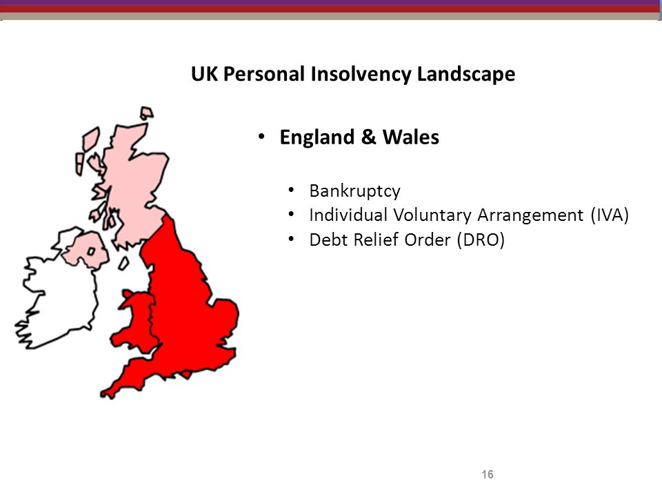 UK Personal Insolvency Landscape England & Wales Bankruptcy Individual Voluntary Arrangement (IVA) Debt Relief Order (DRO) 16