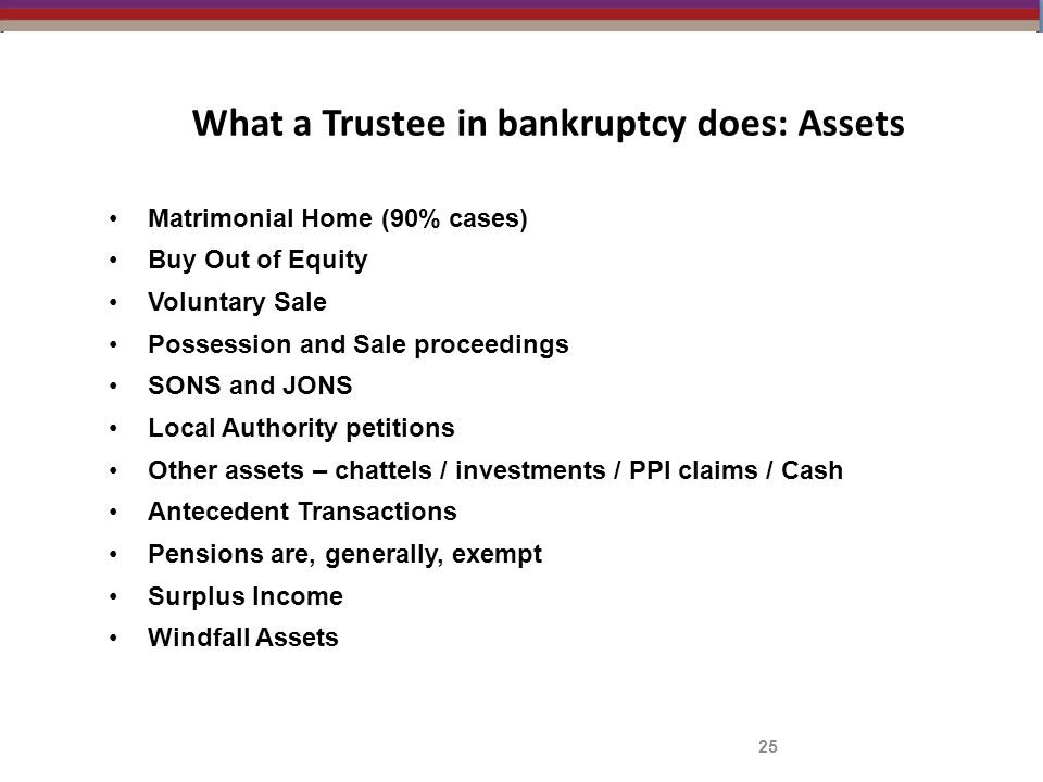 What a Trustee in bankruptcy does: Assets 25 Matrimonial Home (90% cases) Buy Out of Equity Voluntary Sale Possession and Sale proceedings SONS and JO