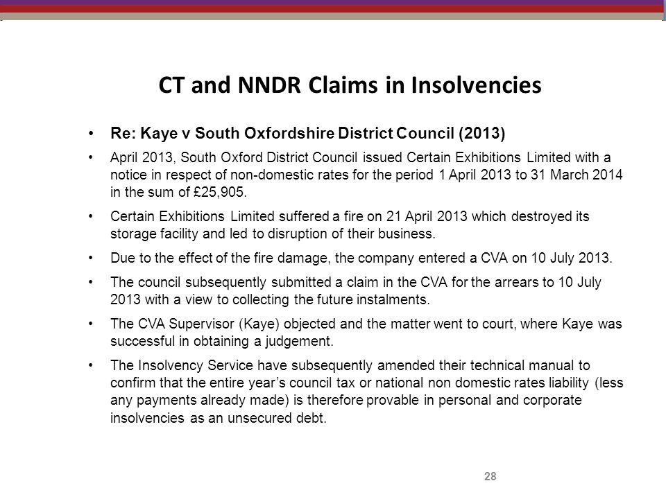 CT and NNDR Claims in Insolvencies Re: Kaye v South Oxfordshire District Council (2013) April 2013, South Oxford District Council issued Certain Exhib