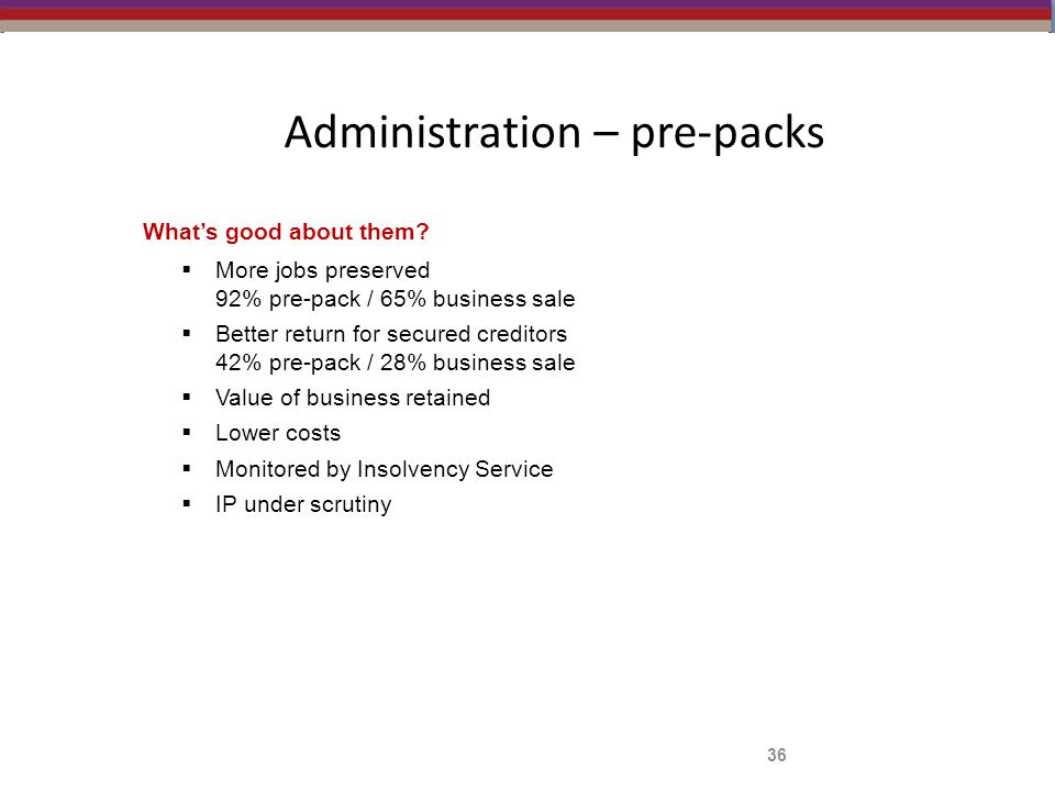 Administration – pre-packs What's good about them.