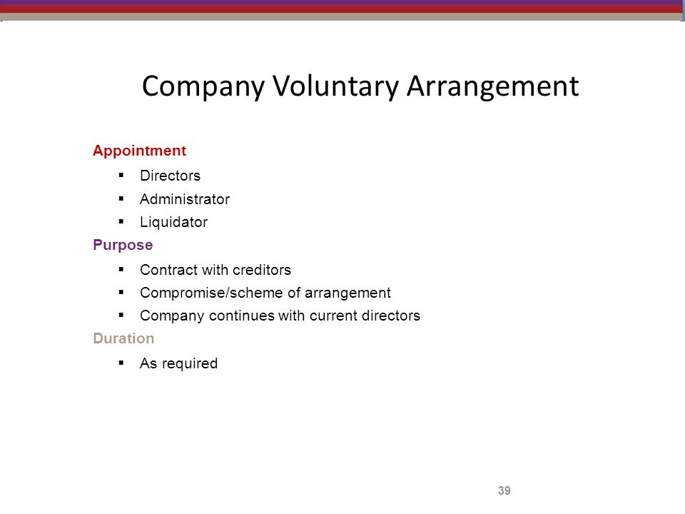 Company Voluntary Arrangement Appointment  Directors  Administrator  Liquidator Purpose  Contract with creditors  Compromise/scheme of arrangement  Company continues with current directors Duration  As required 39