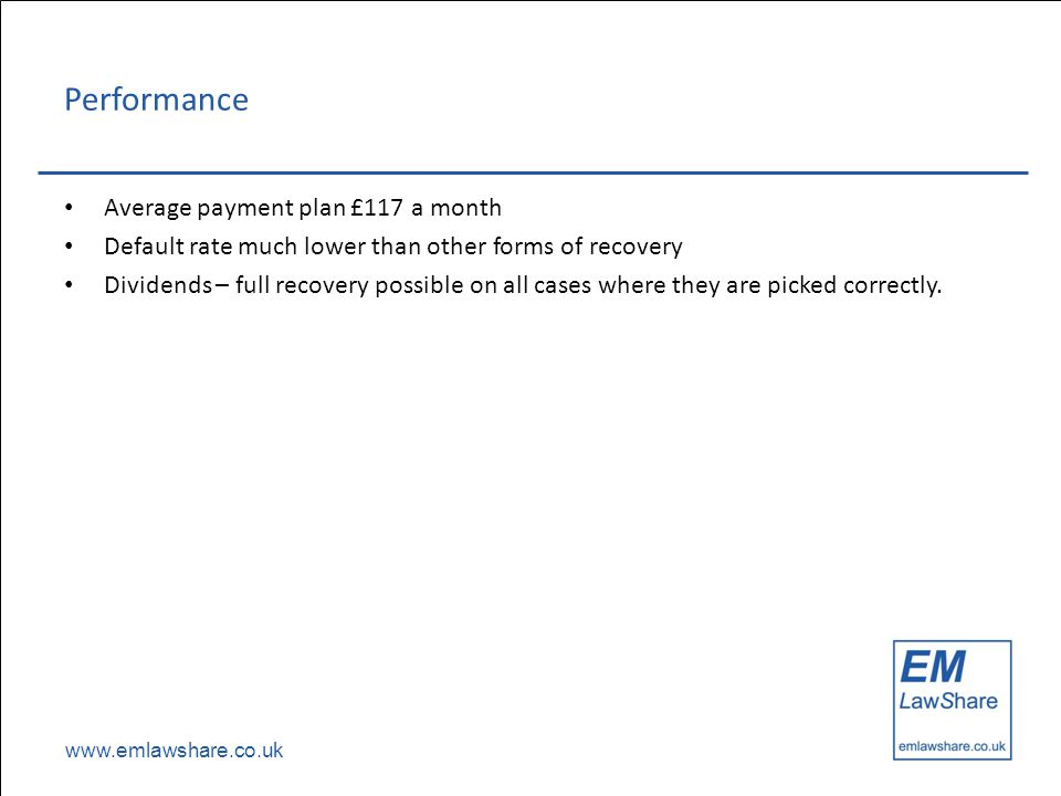 www.emlawshare.co.uk Performance Average payment plan £117 a month Default rate much lower than other forms of recovery Dividends – full recovery poss