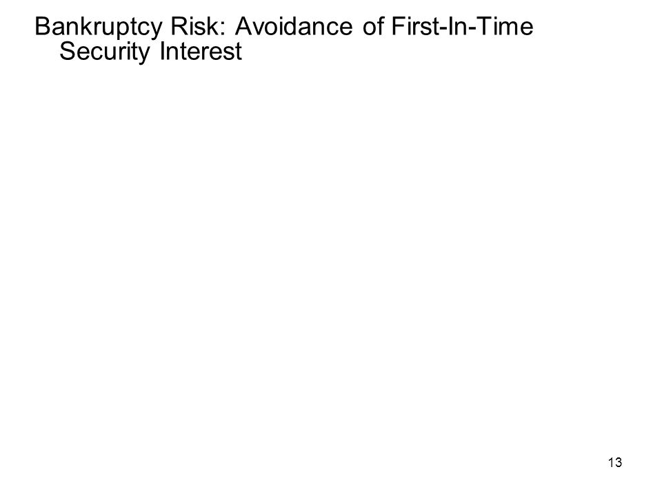 13 Bankruptcy Risk: Avoidance of First-In-Time Security Interest