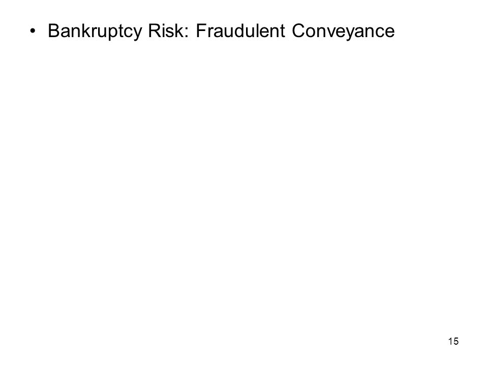 15 Bankruptcy Risk: Fraudulent Conveyance