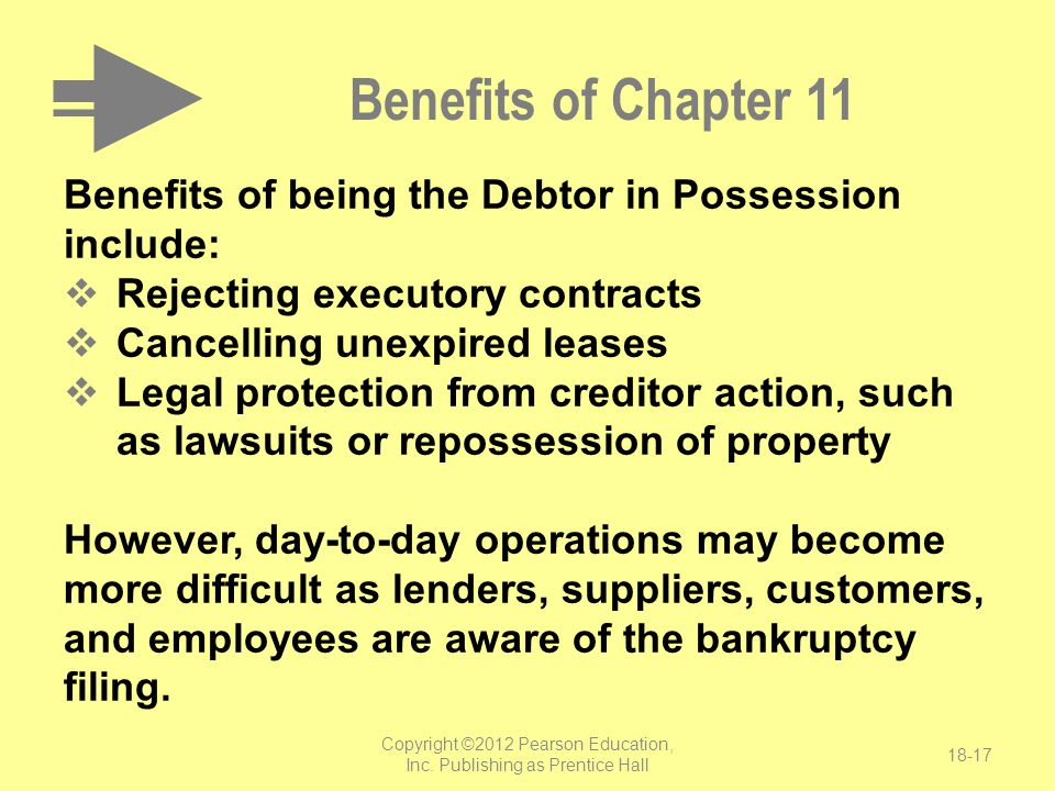 Benefits of Chapter 11 Benefits of being the Debtor in Possession include:  Rejecting executory contracts  Cancelling unexpired leases  Legal prote