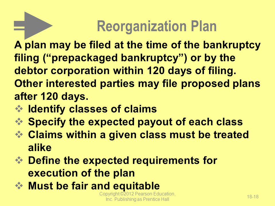 """Reorganization Plan A plan may be filed at the time of the bankruptcy filing (""""prepackaged bankruptcy"""") or by the debtor corporation within 120 days o"""