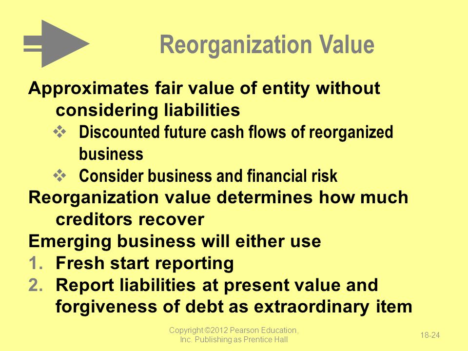 Copyright ©2012 Pearson Education, Inc. Publishing as Prentice Hall 18-24 Reorganization Value Approximates fair value of entity without considering l