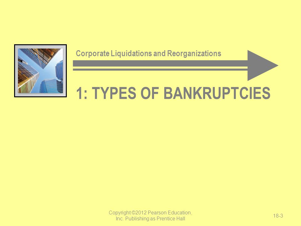 1: TYPES OF BANKRUPTCIES Corporate Liquidations and Reorganizations Copyright ©2012 Pearson Education, Inc. Publishing as Prentice Hall 18-3