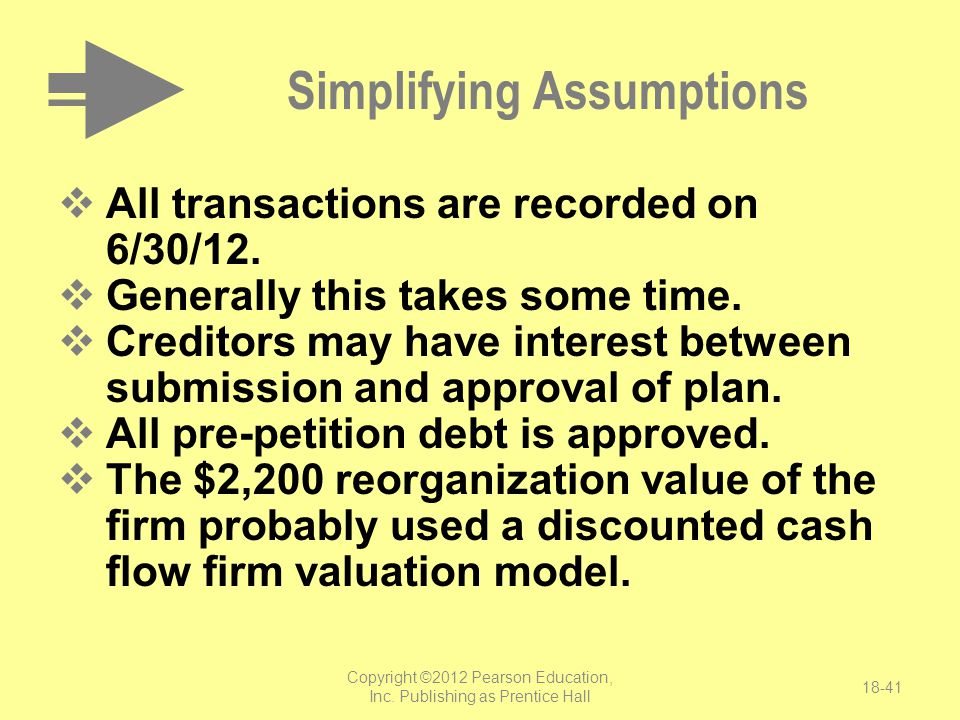 Copyright ©2012 Pearson Education, Inc. Publishing as Prentice Hall 18-41 Simplifying Assumptions  All transactions are recorded on 6/30/12.  Genera