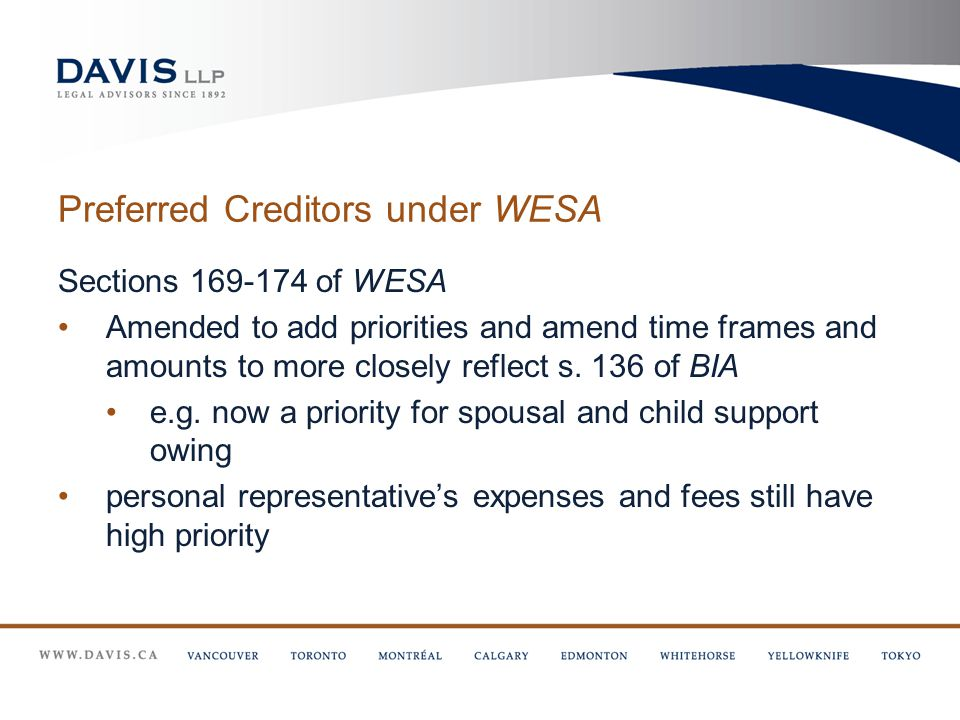 Preferred Creditors under WESA Sections 169-174 of WESA Amended to add priorities and amend time frames and amounts to more closely reflect s.