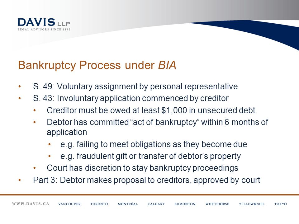 Bankruptcy Process under BIA S. 49: Voluntary assignment by personal representative S.