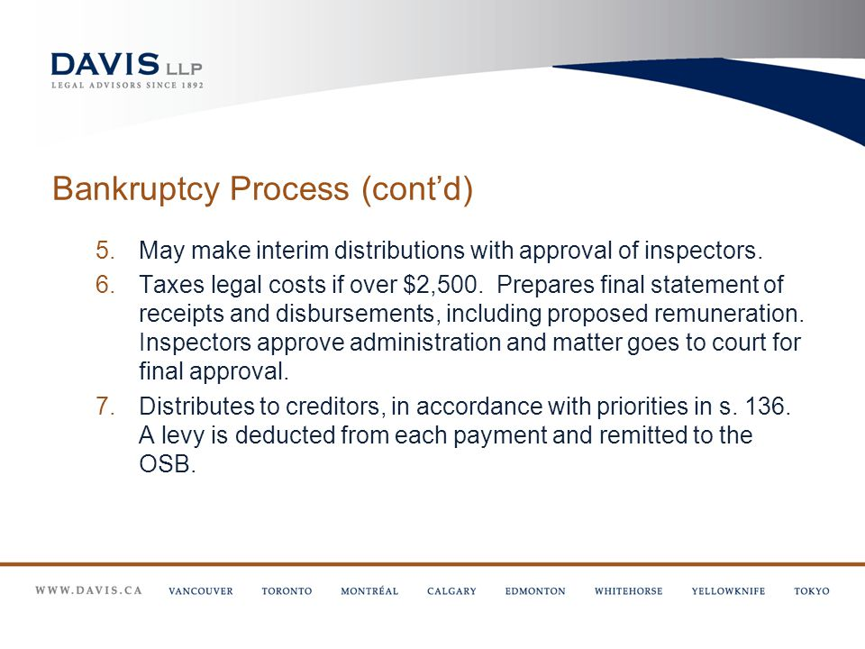 Bankruptcy Process (cont'd) 5.May make interim distributions with approval of inspectors.
