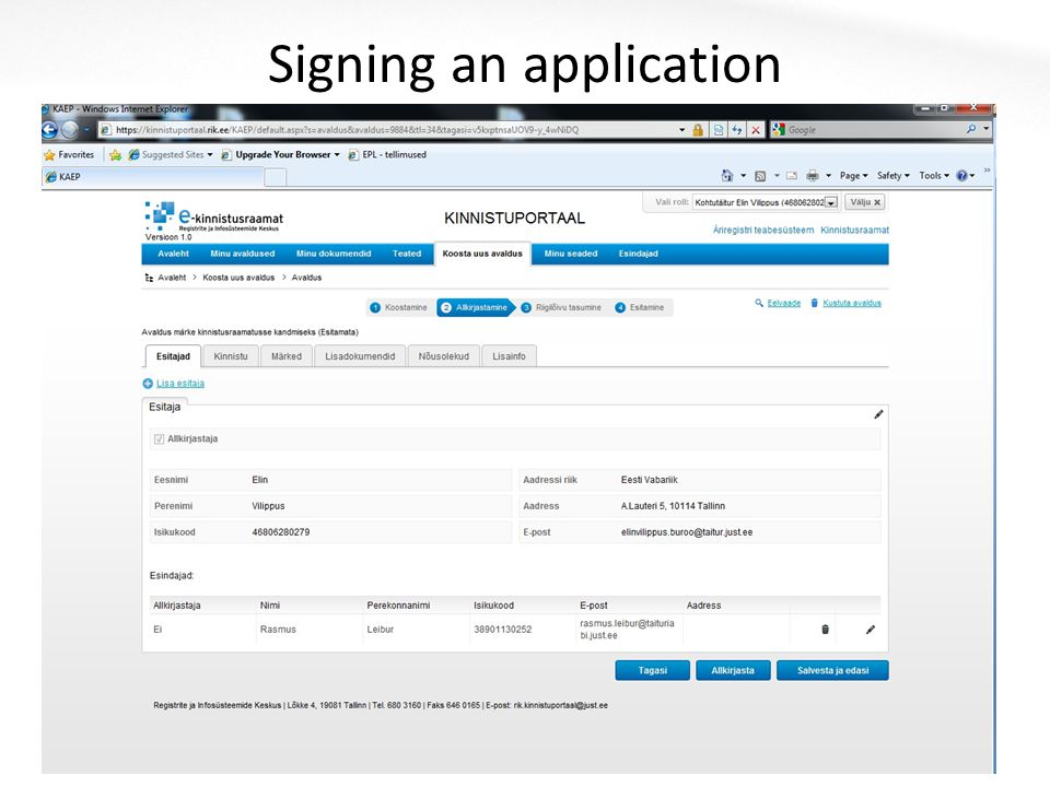 Signing an application