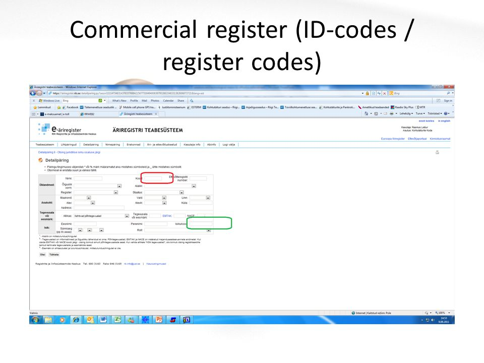 Commercial register (ID-codes / register codes)
