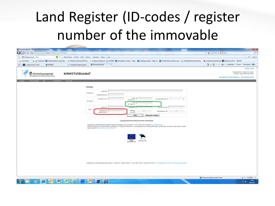 Land Register (ID-codes / register number of the immovable