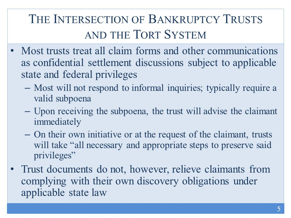 T HE I NTERSECTION OF B ANKRUPTCY T RUSTS AND THE T ORT S YSTEM Many trusts expressly note that failure to identify [the trust defendant's] products in the claimant's underlying tort action, or to other bankruptcy trusts, does not preclude the claimant from recovering from the [trust], provided the claimant otherwise satisfies the medical and exposure requirements of the Asbestos TDP [Kaiser Aluminum & Chemical Corporation Asbestos Personal Injury Trust TDP, § 5.7(b)(3)] Audits and quality controls appear to vary dramatically across trusts – TDP's vary on audits; most require TAC approval – Some have outside organizations conduct audits; others do not – Some track claims across multiple data points; others do not appear to track other than in very broad categories – No universal audit system – No evidence of actual oversight by bankruptcy courts here 6