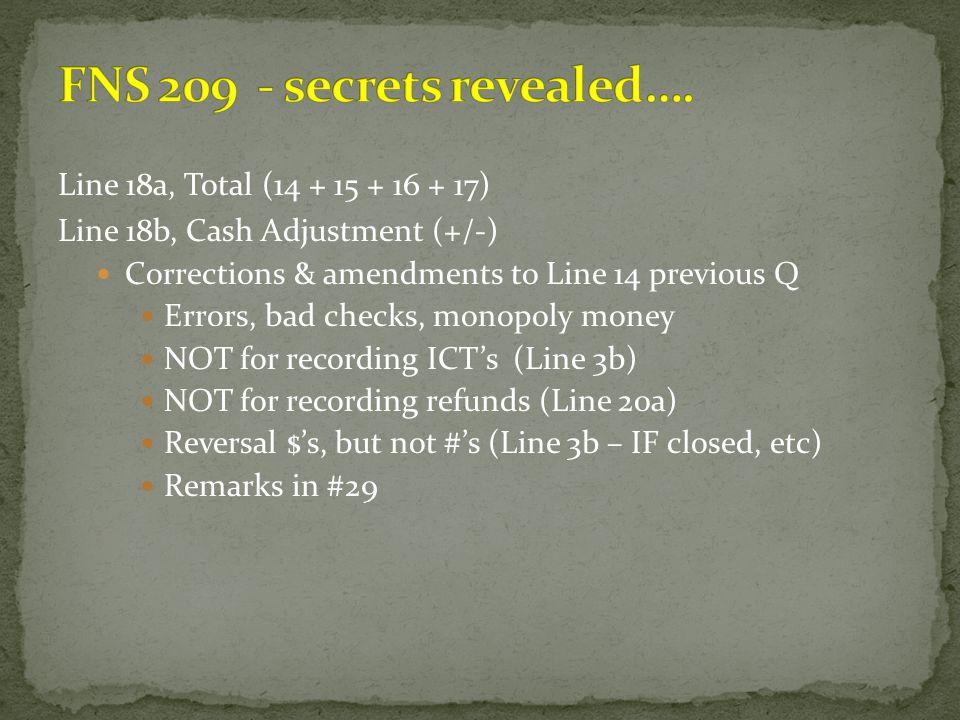 Line 18a, Total (14 + 15 + 16 + 17) Line 18b, Cash Adjustment (+/-) Corrections & amendments to Line 14 previous Q Errors, bad checks, monopoly money
