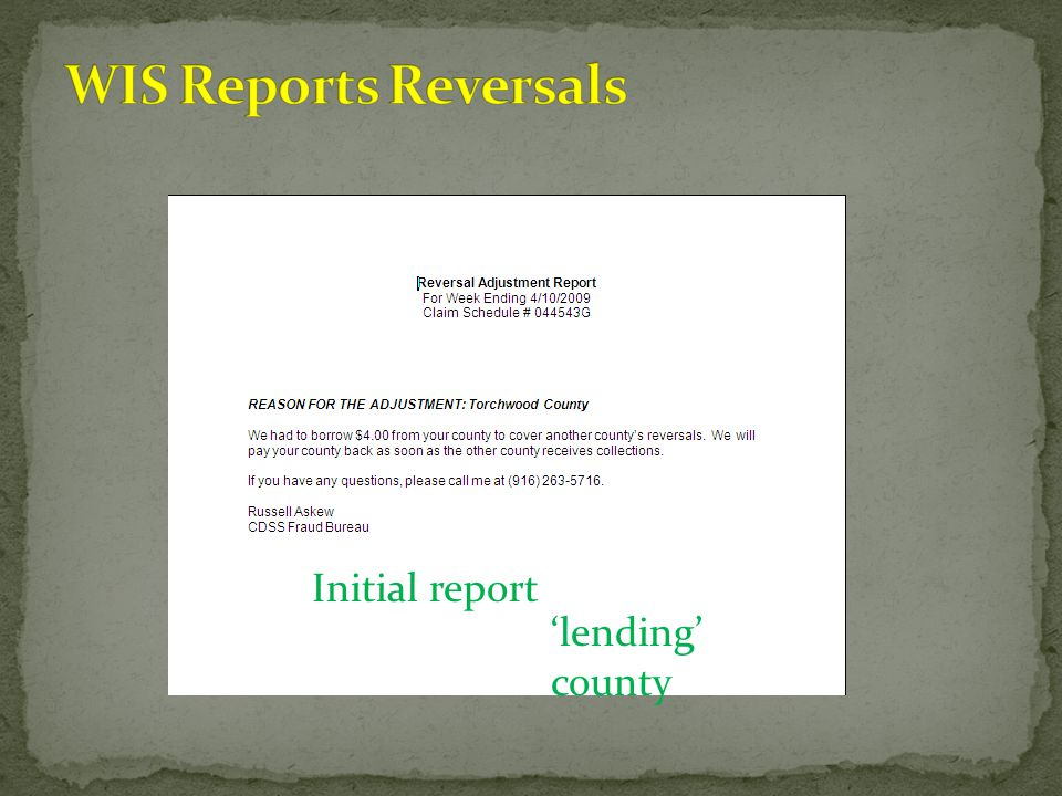 Initial report 'lending' county
