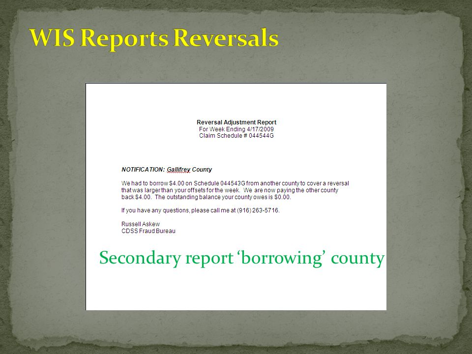 Secondary report'borrowing' county
