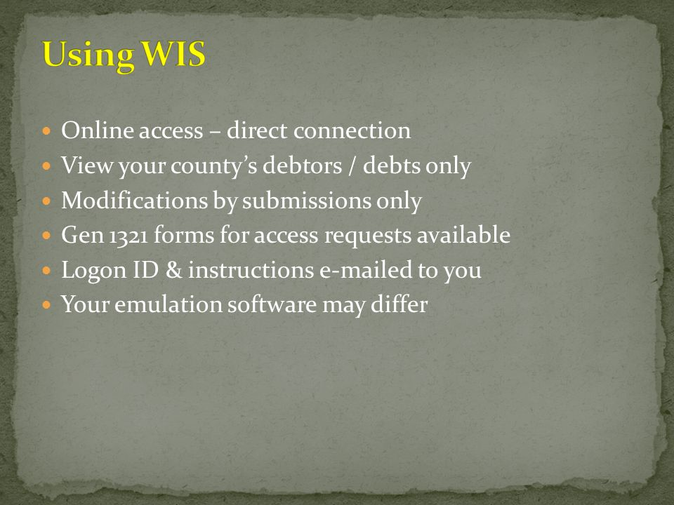 Online access – direct connection View your county's debtors / debts only Modifications by submissions only Gen 1321 forms for access requests availab