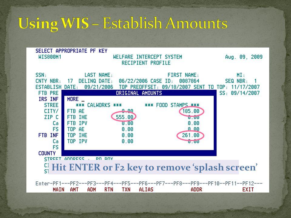 Hit ENTER or F2 key to remove 'splash screen'