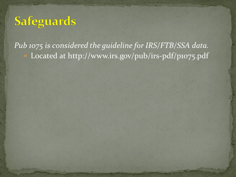 Pub 1075 is considered the guideline for IRS/FTB/SSA data. Located at http://www.irs.gov/pub/irs-pdf/p1075.pdf