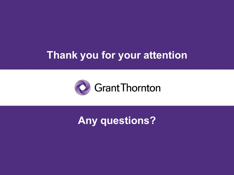 © Grant Thornton International. All rights reserved. Thank you for your attention Any questions?