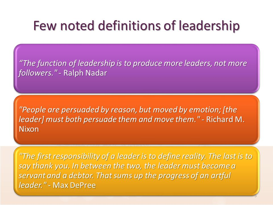 Few noted definitions of leadership The function of leadership is to produce more leaders, not more followers. - Ralph Nadar People are persuaded by reason, but moved by emotion; [the leader] must both persuade them and move them. - Richard M.