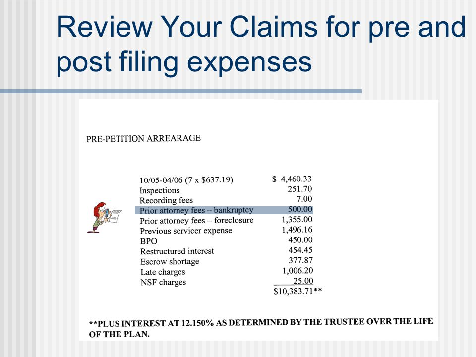 Review Your Claims for pre and post filing expenses