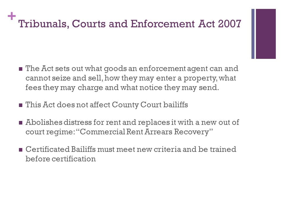 + Tribunals, Courts and Enforcement Act 2007 The Act sets out what goods an enforcement agent can and cannot seize and sell, how they may enter a property, what fees they may charge and what notice they may send.