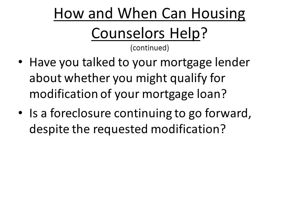 How and When Can Housing Counselors Help.