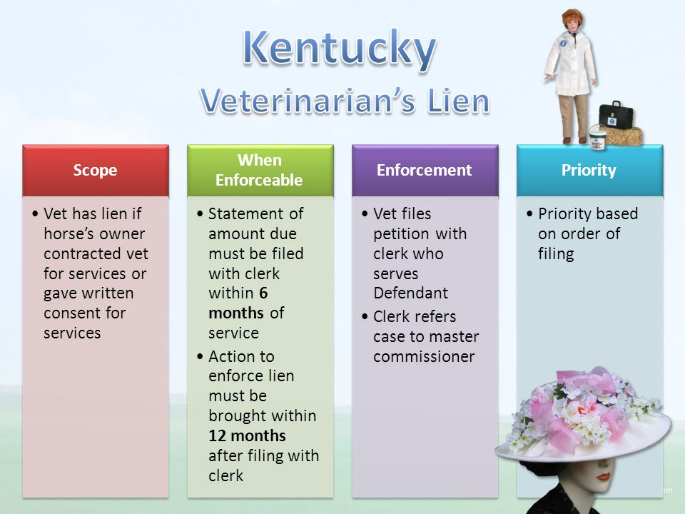 Scope Vet has lien if horse's owner contracted vet for services or gave written consent for services When Enforceable Statement of amount due must be filed with clerk within 6 months of service Action to enforce lien must be brought within 12 months after filing with clerk Enforcement Vet files petition with clerk who serves Defendant Clerk refers case to master commissioner Priority Priority based on order of filing