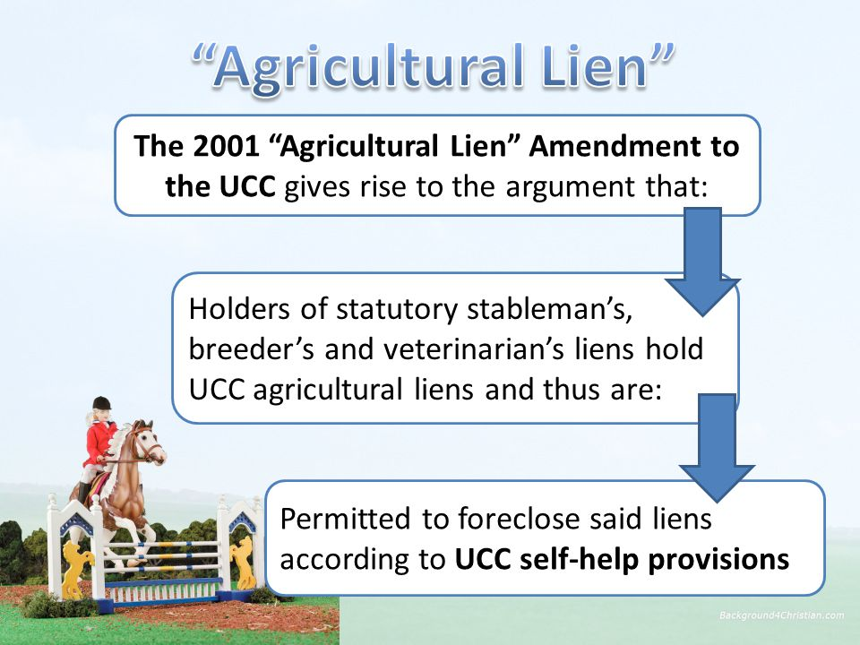 The 2001 Agricultural Lien Amendment to the UCC gives rise to the argument that: Permitted to foreclose said liens according to UCC self-help provisions Holders of statutory stableman's, breeder's and veterinarian's liens hold UCC agricultural liens and thus are: